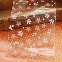 300pcs / lot Pink Transparent Sakura Pattern Gift Gift Bag Jewelry Bag Candy Bag size=Width 12CM * high 18CM + 3CM tear strip