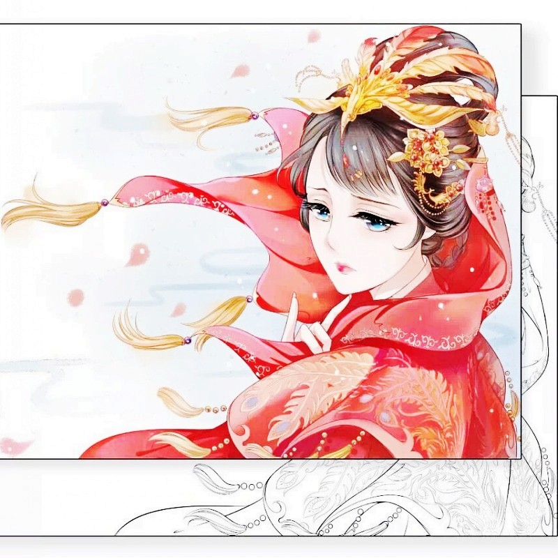 80 Pages Antistress Colouring Book High Quality Genuine Coloring Books For Adult Chinese Ancient Style Painting Drawing Art Book