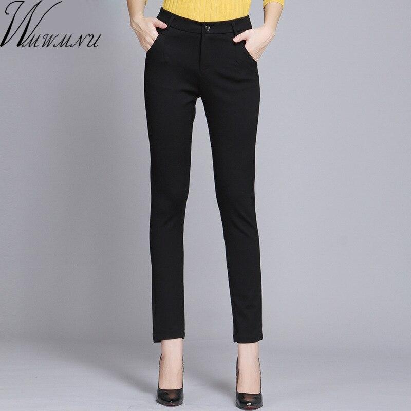 Wmwmcu Pantalones de trabajo para Mujer Pantalones de lápiz de primavera negro casual de talla grande 4XL Pantalones delgados femeninos Pantalones elásticos Mujer