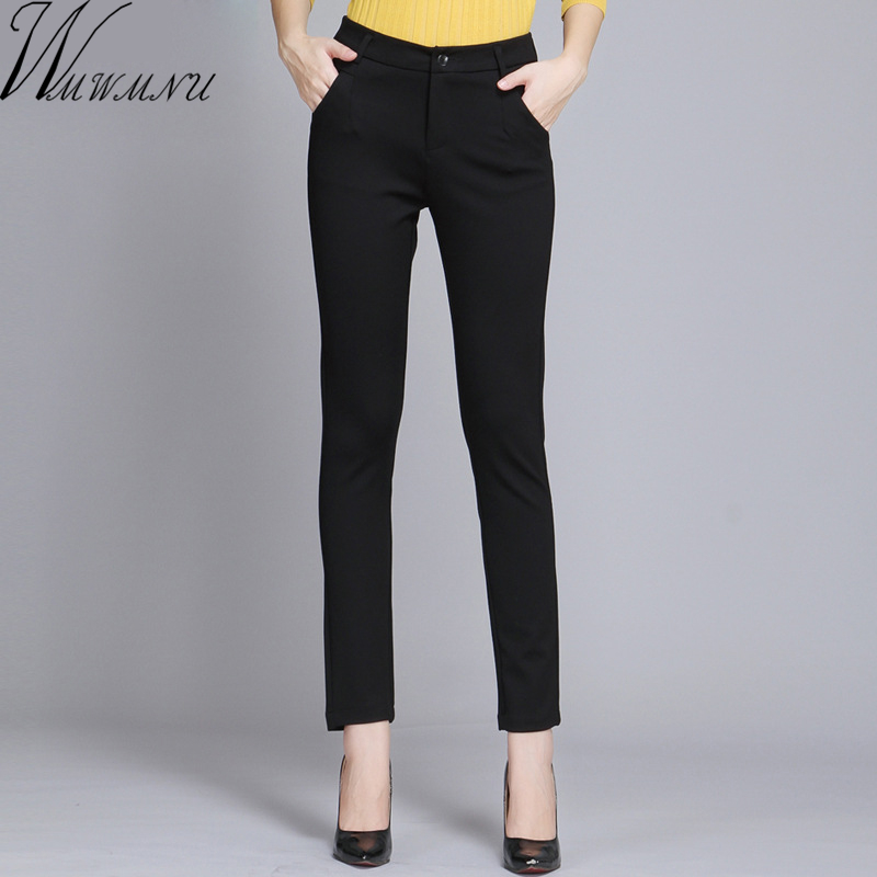 Wmwmnu Women Trousers Work Wear casual Spring Black pencil Pants Plus Size <font><b>4XL</b></font> Female Slim Pants Elastic <font><b>Pantalones</b></font> <font><b>Mujer</b></font> image