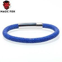 Magic Fish Men bracelets & bangles 6mm Stingray leather rope chain Stainless steel nail bracelet Mens fashion jewelry bileklik цена 2017