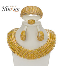 MUKUN fashion Exquisite Dubai jewelry set luxury Golden color wedding in Nigeria African jewelry wholesale jewelry Accessories(China)