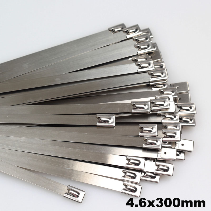 100pcs 4 6mmx300mm Self Locking Stainless Steel Zip Cable