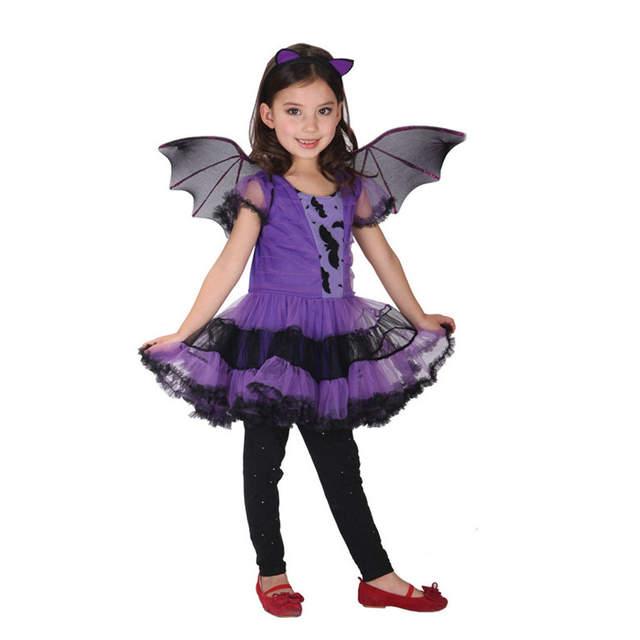 d908f2925 placeholder Trajes de Halloween para Meninas Vestido de Princesa Crianças  Morcego Vampiro Cosplay Roupas Set para Meninos