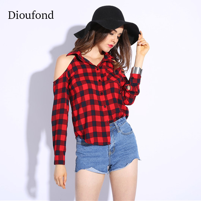 Dioufond Red Checked Shirts For Women Sexy Open Shoulder -5574