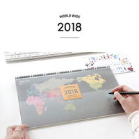 Desk Yearly Planner Calendar 2018 World Map Large Agenda 2018 Planner Organizer Schedule 14 Month Day
