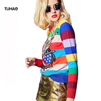 TUHAO Color Striped Sweaters Women Tops Eagle Flag Fashion Streetwear Pullovers and Sweater Femme Pull TS7027