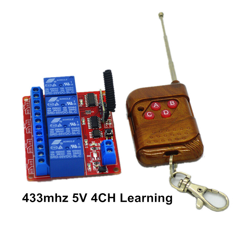15-100m 4-Channel 433mhz Remote Control Learning Switch Relay Module 05V DC with 4-key RF Controller ir dc 5v remote control switch 1 channel relay module board with 1 key infrared wirelesstransmitter ir01 jog