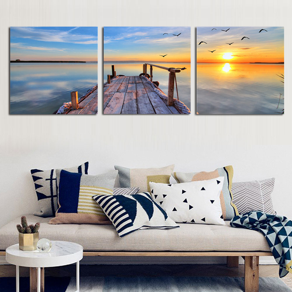 Natural Landscape Photography Wall Decor Canvas Painting Sunset Seascape Printed Picture for Living Room 3 Panel Scenery Posters