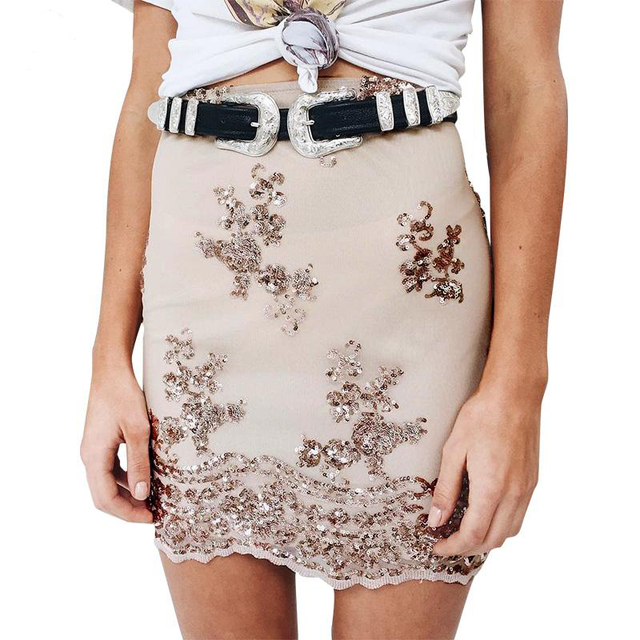 Smoves Women Sequin Pencil Skirt Sequined Lace Mesh Bodycon Sequins Mini Skirts High Waist Autumn winter Spring Party Skirt
