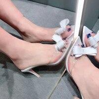 Дамская обувь сезон: весна–лето 2019 серебристый металлик Прозрачная ПВХ пленка лодочки на шпильке женская обувь на высоком каблуке с бантом