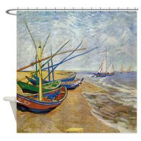 Van Gogh Fishing Boats Shower Curtain Decorative Fabric Shower Curtain Set House Doormats For Living Room