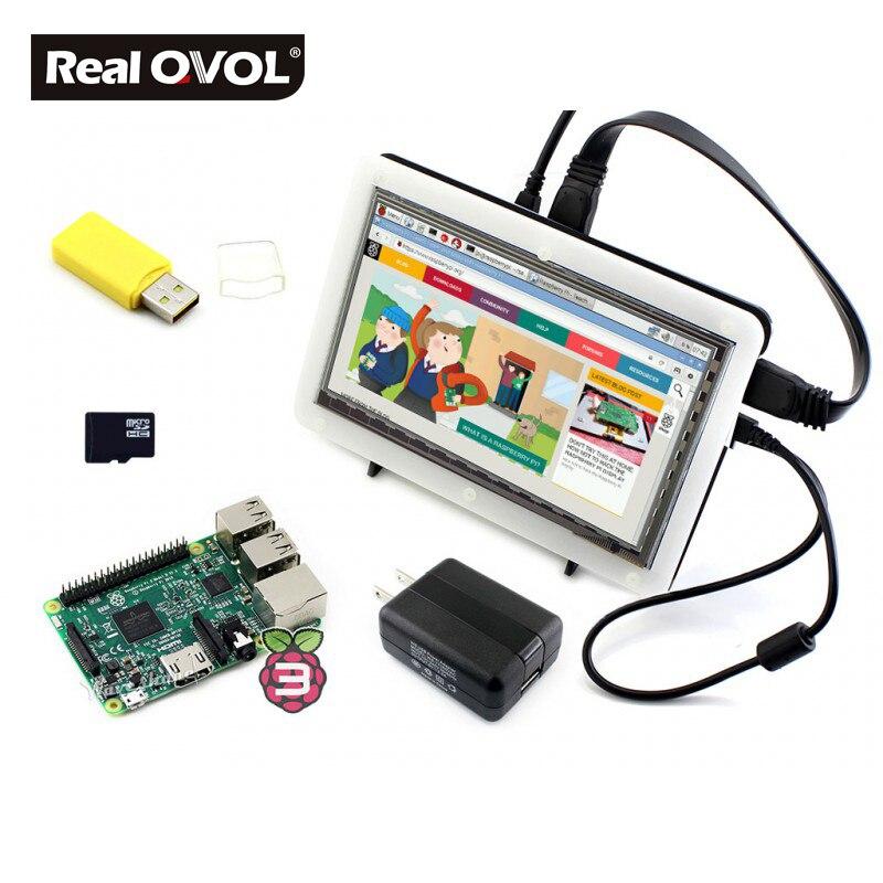 Micro PC chaud framboise Pi 3 modèle B avec 7 pouces HDMI LCD + 8 go Micro carte SD + boîtier bicolore + adaptateur secteur = Raspberry Pi 3 B Pack F