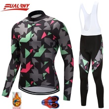 2019 Team FUALRNY Long sleeve Ropa Ciclismo Cycling Jersey sets 9D gel/winter Thermal Fleece Clothing/MTB Bike Clothes For Man