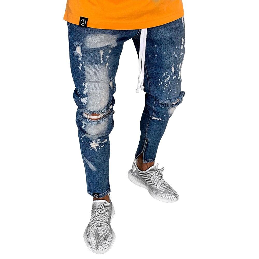 Casual Ankle-Length Men's Hole Jeans Regular Mid Waist Pants Slim Men Pencil Pants Cotton Fit Size Masculina Male Trousers D40