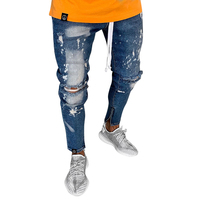 Casual Ankle Length Men's Hole Jeans Regular Mid Waist Pants Slim Men Pencil Pants Cotton Fit Size Masculina Male Trousers D40