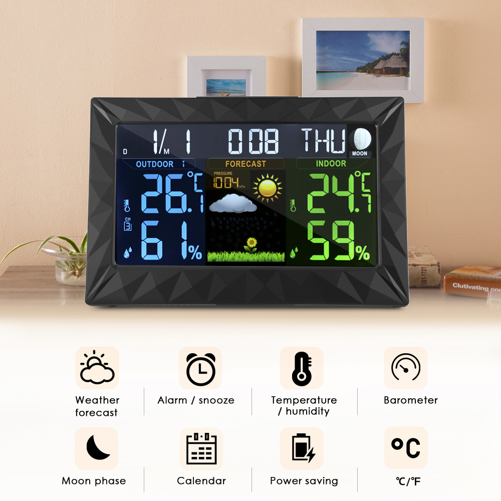 TS - Y01 LCD Electronic Temperature Humidity Meter Digital Thermometer Hygrometer Weather Station Alarm Clock Indoor Outdoor wireless weather station digital color lcd thermometer forecaster clock indoor outdoor humidity meter with remote sensor 50% off