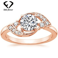 14K Rose Gold Zircon Diamond Ring Prom Jewelry 925 Sterling Silver Anillos De Bizuteria Diamante Gemstone Engagement Rings Party