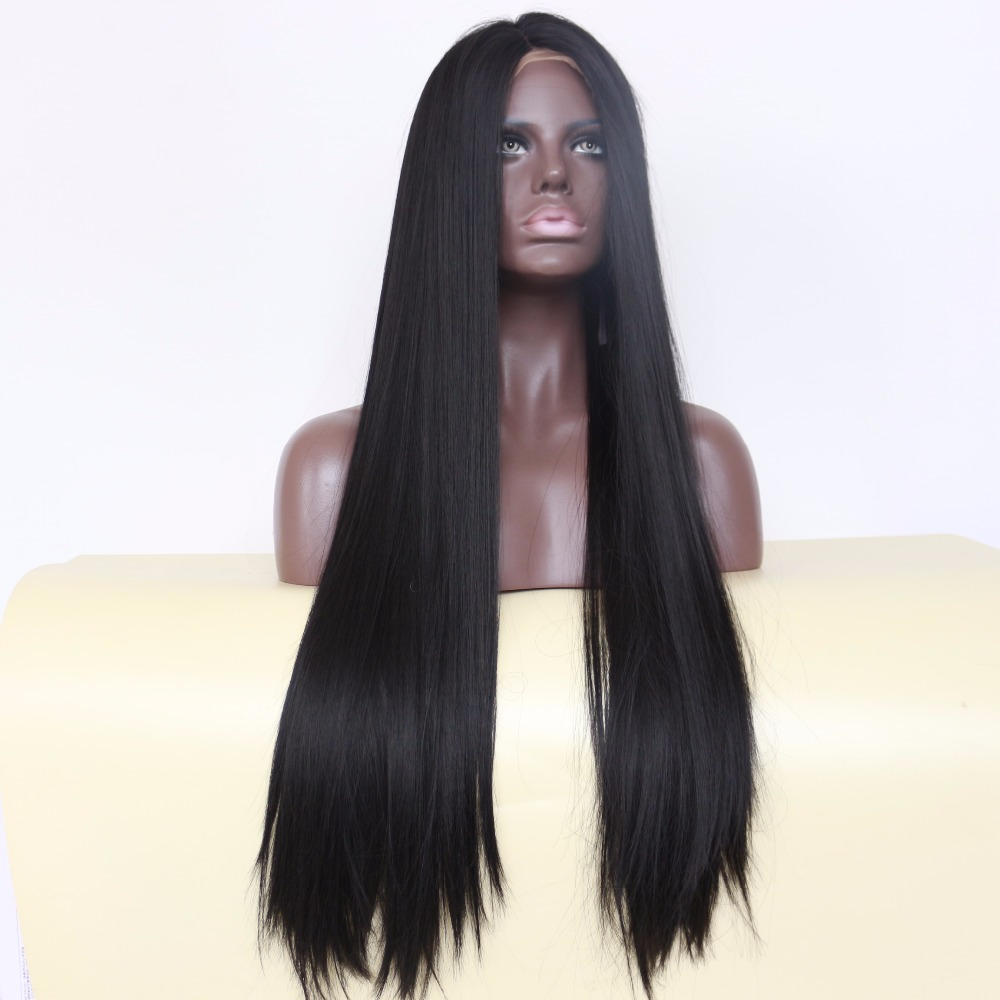 BeautyTown Straight Type Glueless Heat Resistant Hair Black 1B Color Hand Tied Natural Coplay Synthetic Lace
