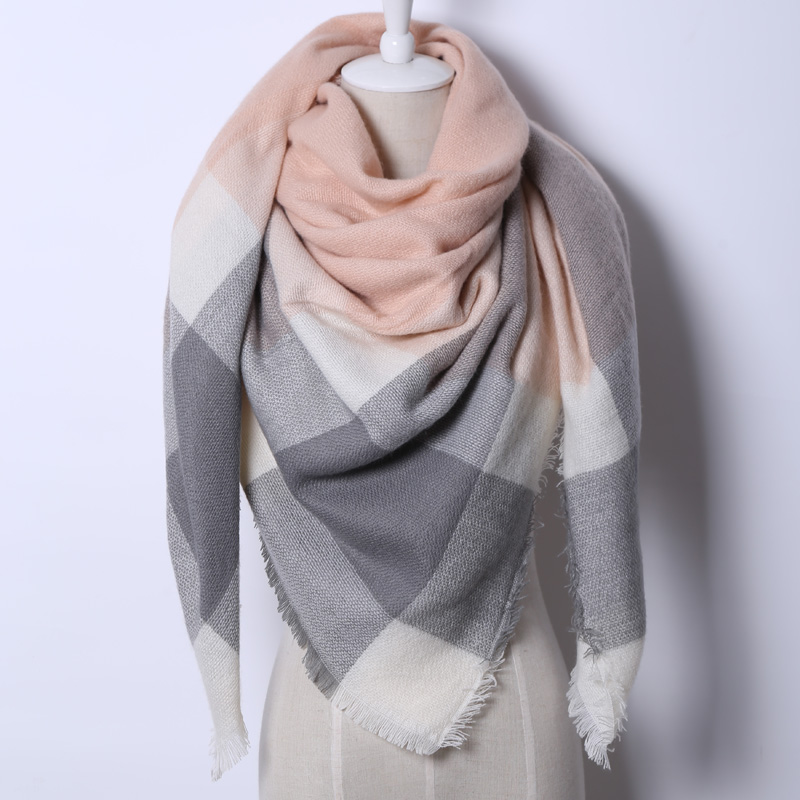 2017 Brand New Triangular Scarf Acrylic Pashmina Fashion Tassels Plaid Shawl Warm Winter For Women Free Shipping