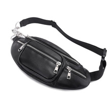 QIUYIN Anti Theft Walking Belt Bags Classic Black White Waist Pack Fashion Chain PU Lychee Leather Waist Bag Waterproof