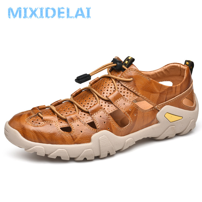New Summer Men Genuine Leather Sandals Business Casual Shoes Men Outdoor Beach Sandals Roman Summer Men's Water Shoes Size 38-47