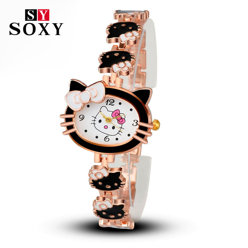 2017 New Brand Hello Kitty Cartoon Watches Women Children Dress Quartz Wristwatch Kids Hellokitty Watches Girls Montre Enfant купить