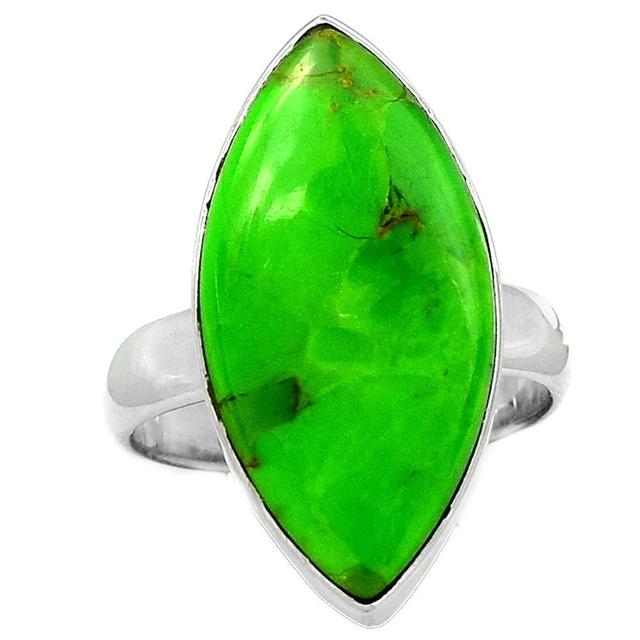 Lovegem Green Mohave Turquoise Ring 925 Sterling Silver,Size :8 , AR1193