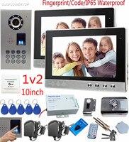 SUNFLOWERVDP Fingerprint Video Doorphone Systems 10 Color Door Monitor With Home Electric Rfid Cards Door Lock
