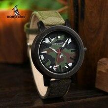BOBO BIRD الجيش الأخضر ساعة الرجال الخشب الفاخرة العلامة التجارية الأعلى ساعات كوارتز هدية عظيمة لصديقها relogio masculino في صندوق خشبي