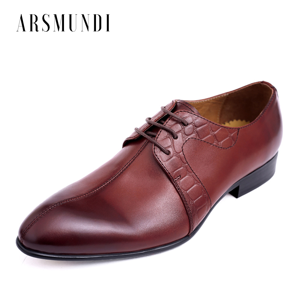 cae7e9c03d36b Men s Casual Shoes Genuine Leather Round Toe Retro Style Genuine Leather  Dress Wedding Business Shoes 2018