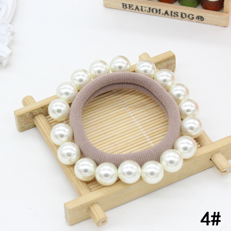 Купить с кэшбэком Hot 2018 New Pearl Beads Hair Rope For Women Seamless Rings Headwear Girls Hair Modeling tool