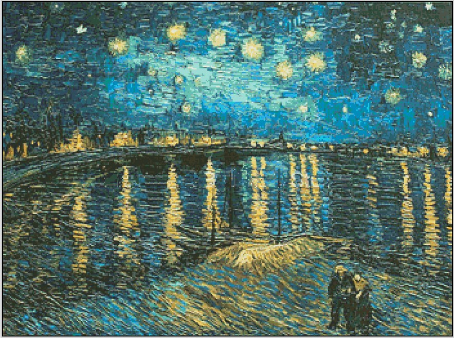Embroidery Van Gogh Rhone River Starry Night Scenery Needlework 14CT Unprinted DMC DIY Cross Stitch Kits Handmade Art Wall Decor