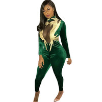Sexy Sheer Green Velvet Jumpsuit Rompers 2018 Women Spring Long Sleeve Turtleneck Appliques Club Wear Party Overalls Female XXL