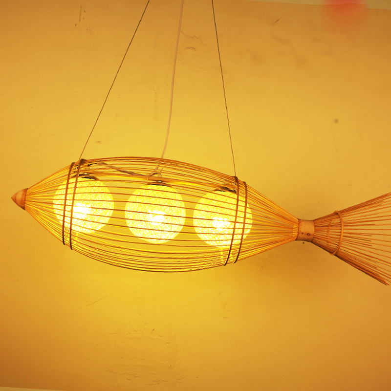 Retro Fishing Cage Pendant Light Handmade Bamboo Weaving Suspension Lamp New for Living Room Dinning Room Home Light G058Retro Fishing Cage Pendant Light Handmade Bamboo Weaving Suspension Lamp New for Living Room Dinning Room Home Light G058