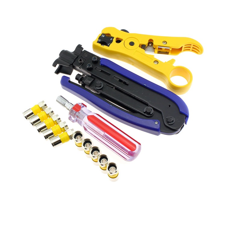 DIY 75-5 Cable CCAV Satellite TV Connector Toolkit Suite with 10 F Connector the whole package of cable connector joint 75 5 f head set top box power splitters f extrusion type waterproof metric