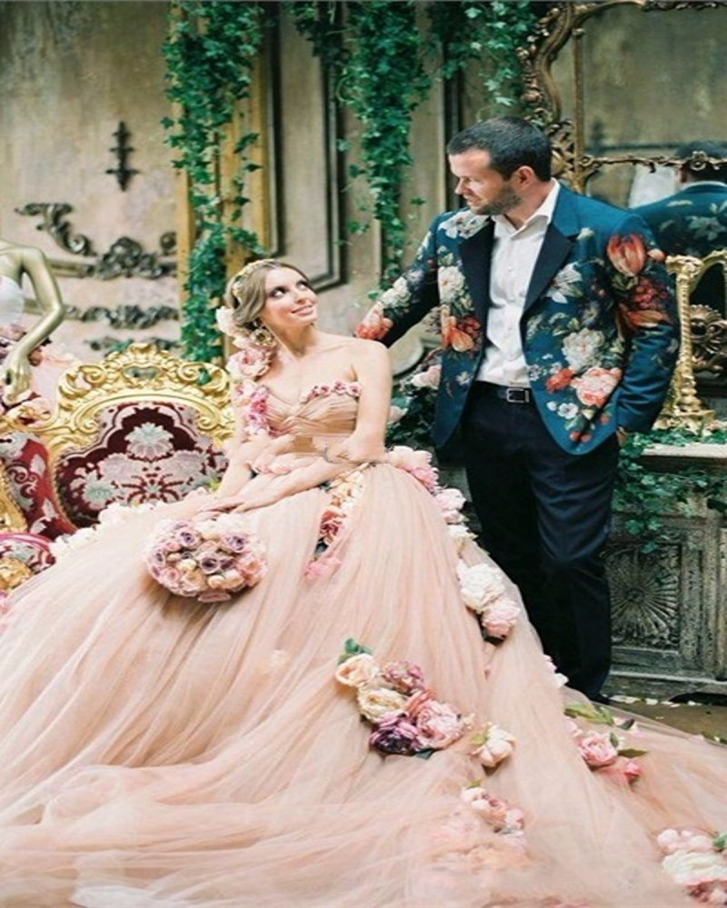 vintage-Pink-Flowers-Wedding-Dress-2016-Sexy-One-shoulde-Tulle-Custom-Made-Ball-Gown-Bridal-Dresses (2)
