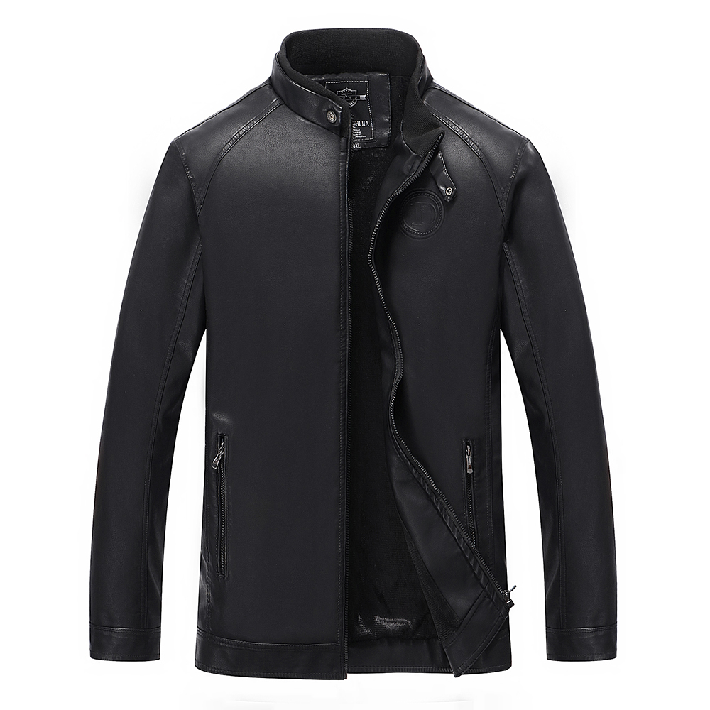 Men Leather Jacket New Slim Fit Solid Color Motorcycle Leather Jackets Russian Style Fashion Zipper Leather Jacket Size L-4XL