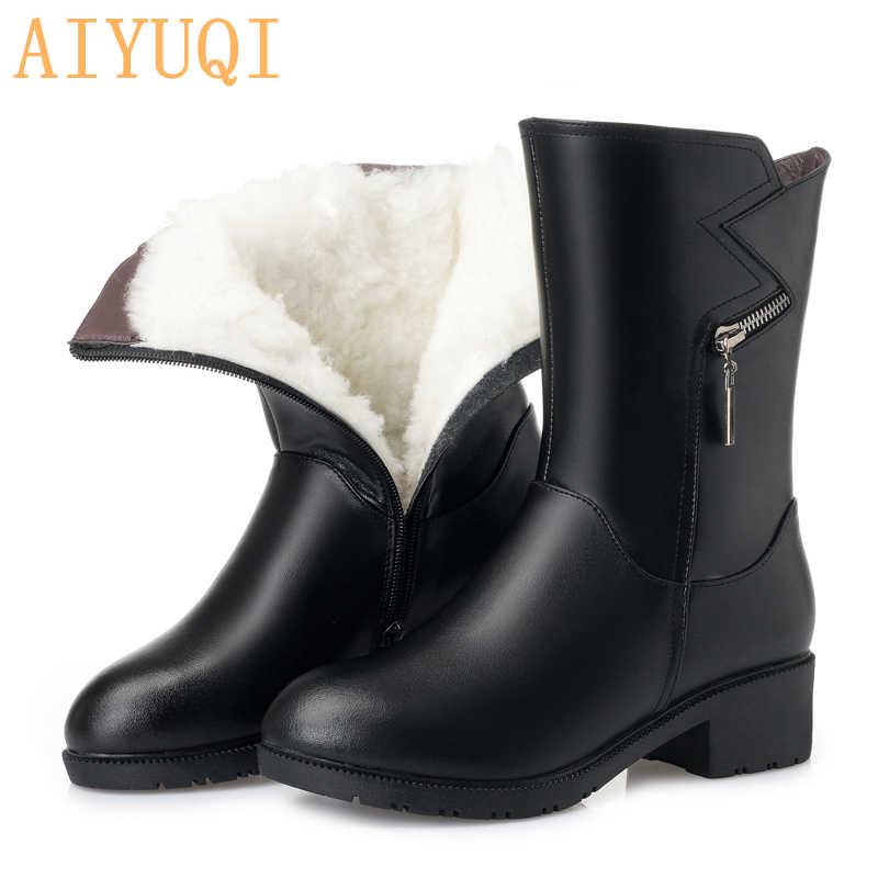 AIYUQI hakiki deri çizmeler kadın artı 41 42 43 yeni 2019 kadın kışlık botlar yün sıcak trend motosiklet botları kadın