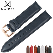 цена на MAIKES Watch Accessories Genuine Leather Watch Strap With Rose Gold Buckle Watchband 20mm For DW Daniel Wellington Watch Band