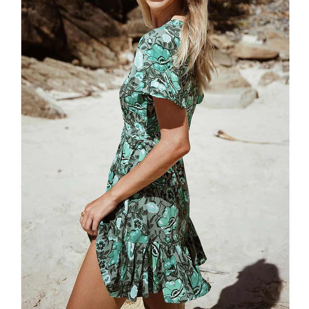 90689433b1 ... Beach Dress Tunic Green Printing Elegant Tunics For Women Deep V-Neck  Beach Cover Up ...