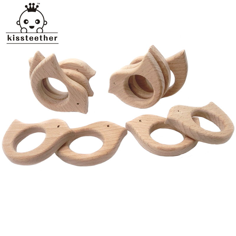 Natural Beech Wooden Bird Teether Handmade Organic Baby Toys DIY Wood Teether Pendent Eco-Friendly Safe Baby Teething Toys
