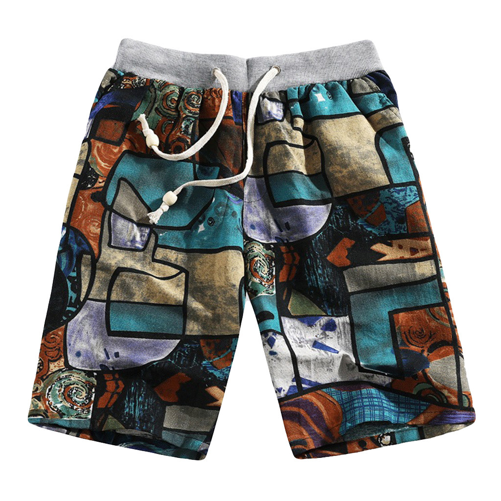 Men's Summer Casual Ethnic Style Multicolor Printed Loose Linen Straight Elastic Waist Beach Shorts Pants Surffing Shorts L413A