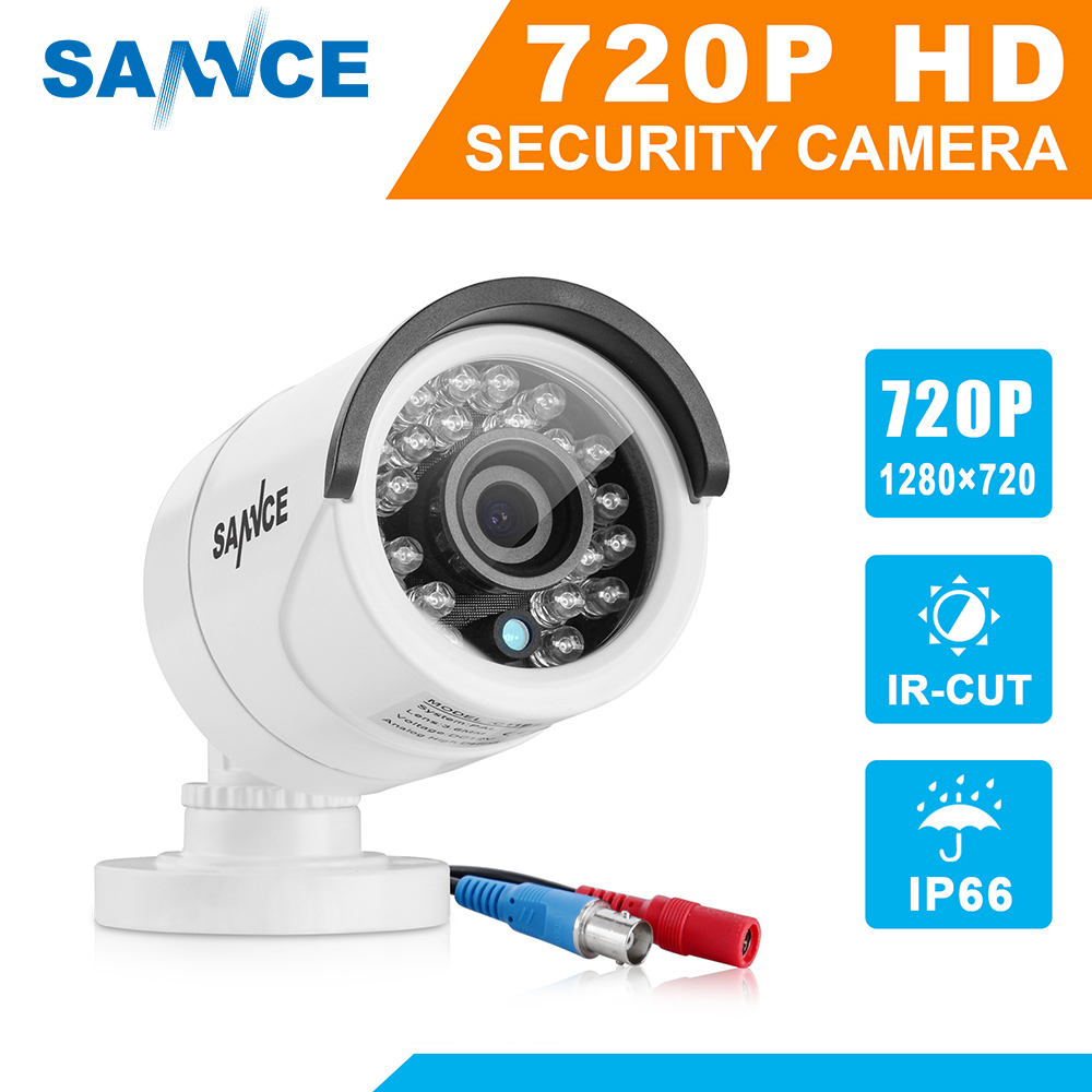 SANNCE 720P CCTV Camera 1200TVL IR Cut Filter Day/Night Vision Video Outdoor Waterproof IR Bullet Surveillance Security Camera hd 1200tvl 720pccd sensor 36 ir cut outdoor night vision security waterproof bullet camera 16ch ahd dvr recorder surveillance