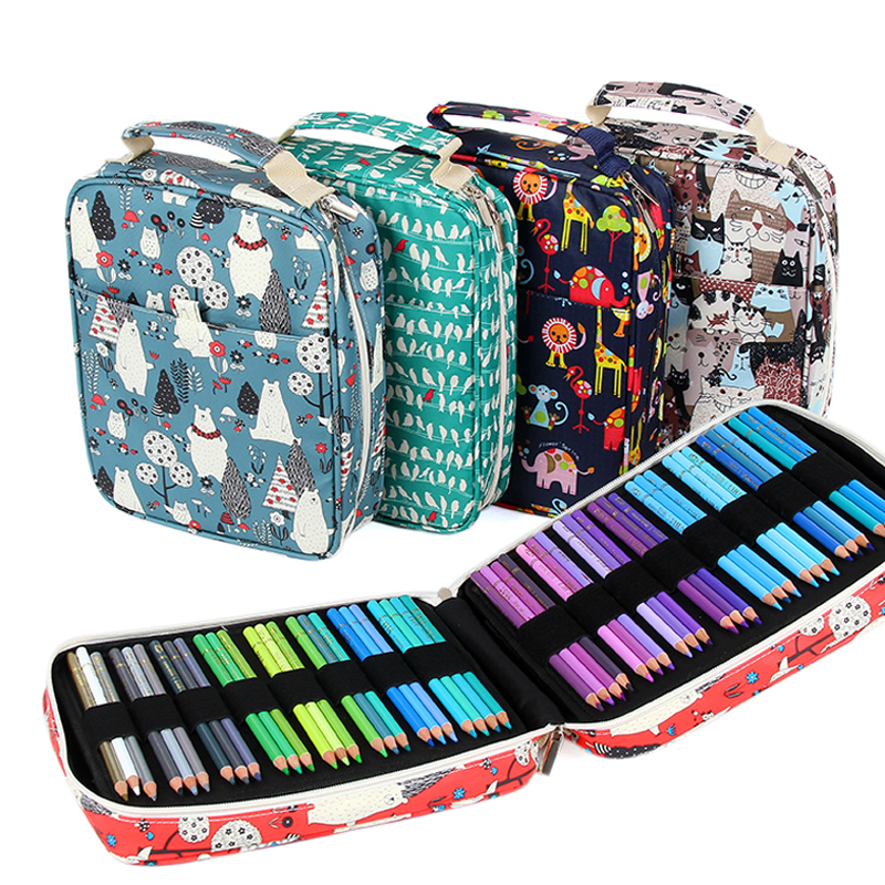 Creative 150 Solt Large Capacity Colored Pencil Case Cartoon Animal Floral Print Multifunctional Pencil Bag Pen Box Art Supplies