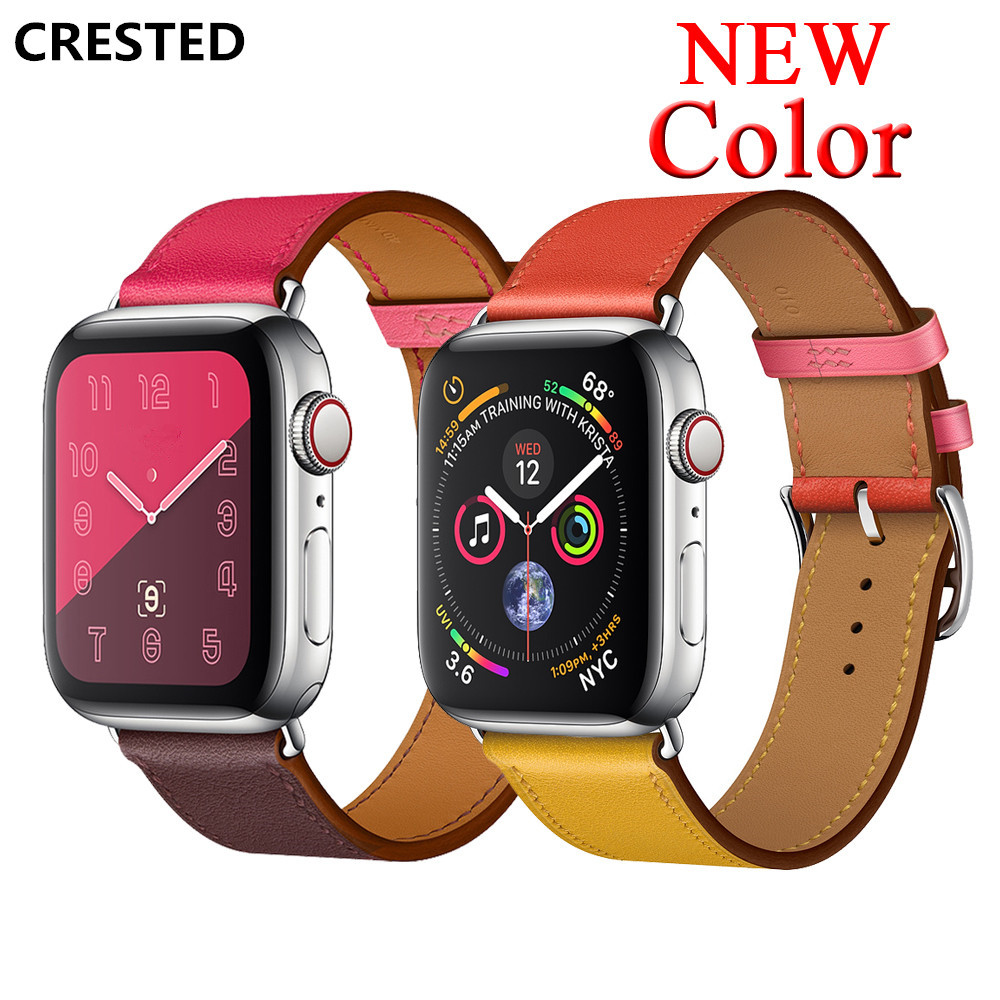 CRESTED Strap for apple watch band 3 42mm 44mm iwatch series 4 3 2 1 40mm 38mm Genuine Leather Single tour bracelet WristbandCRESTED Strap for apple watch band 3 42mm 44mm iwatch series 4 3 2 1 40mm 38mm Genuine Leather Single tour bracelet Wristband