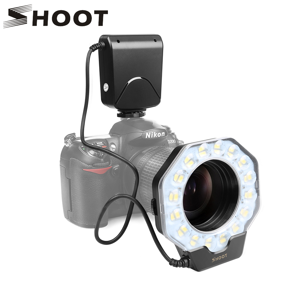 SHOOT Macro Led Ring Light Flash Speedlite with Adapter ring for Nikon D5100 D3100 Series Canon 5D Mark II 7D 10D Olympus Camera