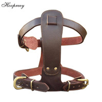 Top Quality Pet Products New Design Double Belt Genuine Cow Leather Large Dog Harness for Pitbull Training Collar Harness