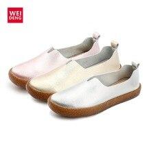 WeiDeng Genuine Leather Espadrilles Women Original Shoes Flats Fishermans Soft Flats Slip On Comfort Loafer Large Size Plus