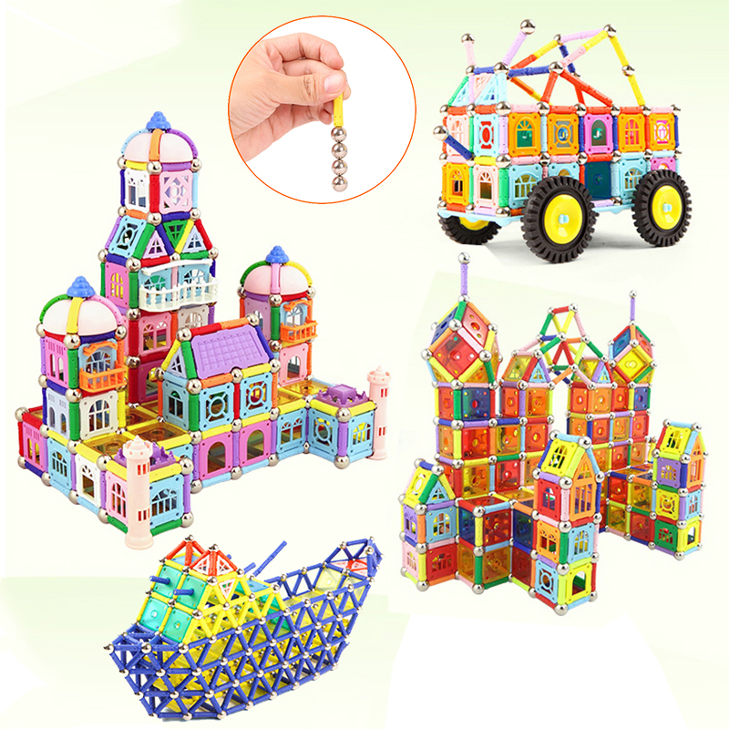 Wholesale Magnet Toy Bars Magnetic Building Blocks Construction Toys For Children Designer Educational Toys For Kids Metal Balls